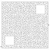 Abstract Complex Square Maze With Entrance And Exit. An Interesting Game For Children And Adults. Ve poster