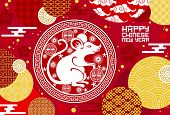 Chinese Animal Zodiac Rat Symbol With Lucky Coin Vector Design Of Lunar New Year. Horoscope Mouse Wi poster
