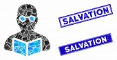 Mosaic Student Icon And Rectangular Salvation Seal Stamps. Flat Vector Student Mosaic Pictogram Of S poster