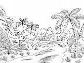 Jungle Road Graphic Black White Landscape Sketch Illustration Vector poster