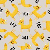 Funny Seamless Pattern With Cute Foxes And The Word - Fox On A Gray Background. Vector Illustration  poster
