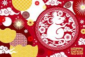 Rat Symbol Of Chinese New Year Animal Zodiac Vector Greeting Card. Lunar Horoscope Mouse With Asian  poster