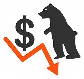 Bear Dollar Trend Raster Icon. Flat Bear Dollar Trend Pictogram Is Isolated On A White Background. poster