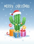 Merry Christmas. Greeting Card With A Funny Cactus In The Form Of A Christmas Tree. Santa Claus Hat, poster