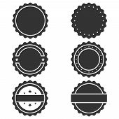 Stamps Without Text Graphic Icons Set. Blank Post Stamps Collection. Stamps Circle Form. Vector Illu poster