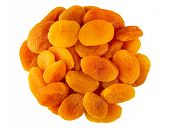 Heap Of Dried Apricots Isolated On White Background. Top View poster