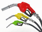 image of bowser  - Gas pump nozzles o0n white isolated background - JPG