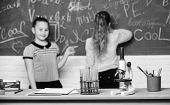 Chemical Reactions. Make Studying Chemistry Interesting. Pupil At Chalkboard On Chemistry Lesson. Ed poster