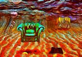 Surreal painting. Armchair and striped horse are on a sea bottom. Fishing hook. Ladder from hole in  poster