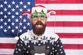 American Tradition. Santa Claus On American Flag. Celebrate Xmas And New Year. Christmas Tradition F poster