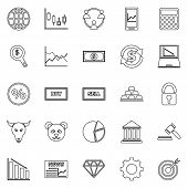 Forex Line Icons On White Background, Stock Vector poster