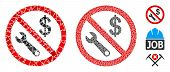 No Job Icon Composition Of Abrupt Parts In Various Sizes And Color Tones, Based On No Job Icon. Vect poster