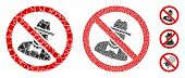 No Spies Icon Mosaic Of Irregular Parts In Variable Sizes And Color Tints, Based On No Spies Icon. V poster