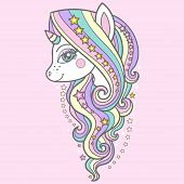 Cute Unicorn With A Long Mane And Stars On A Pink Background. For Your Design Prints, Posters, Cards poster