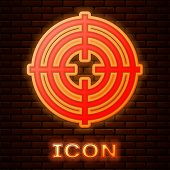 Glowing Neon Target Sport For Shooting Competition Icon Isolated On Brick Wall Background. Clean Tar poster