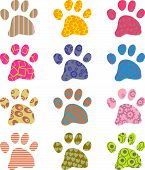 pic of spotted dog  - artistic abstract patterned paw wallpaper background design - JPG