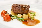 stock photo of chateaubriand  - Tenderloin steak on restaurant table - JPG