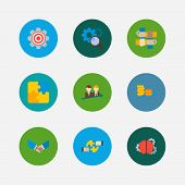 Partnership Icons Set. Cooperation And Partnership Icons With Research, Handshake, Successful Partne poster