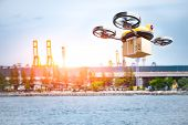 Delivery Drone Delivering Petrochemical Product From Oil Refinery For Shipping Fine And Crude Oil To poster