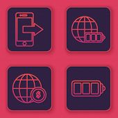 Set Line Smartphone, Mobile Phone, Earth Globe With Dollar Symbol, Battery Charge Level Indicator Wi poster