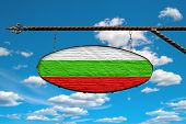 Bulgaria Flag On Signboard. Oval Signboard Colors Bulgaria Flag Hanging On A Metal Forged Structure. poster