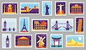 World Cities Post Stamps. Travel Postage Stamp Design, City Attractions Postcard And Town. Monumets  poster