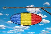 Romania Flag On Signboard. Oval Signboard Colors Romania Flag Hanging On A Metal Forged Structure. T poster