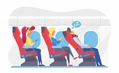 Airplane Passengers In Economy Class Flat Vector Illustration. Plane Cabin Interior With Travellers  poster