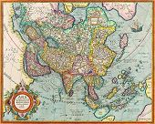 picture of cartographer  - The map of Asia with names of cities and countries on map from the 1786 - JPG