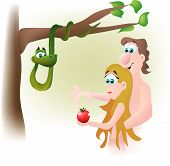 picture of garden eden  - Adam and Eve are tempted by the serpent and they fall prey to his lies by eating the forbidden fruit - JPG