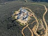 Aerial View Of Telecommunication Antennas On The Top Of Mountain, Sd, California, Usa. Television, R poster