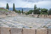 Theatre Of Dionysus In Athens Greece. Historical Archeological Attractions Landscape View poster
