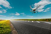 drone and transportation. drone with camera controls highway road conditions poster
