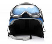 stock photo of protective eyewear  - blue snowboard helmet with goggles isolated on white - JPG