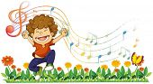 Illustration of a boy singing out loud with musical notes on a white background