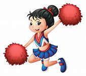 foto of cheerleader  - Illustration of a cheerleader dancing on a white background - JPG