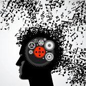 Постер, плакат: Векторные иллюстрации абстрактный человек лицо силуэт в профиль с музыкальным волос и шестерни