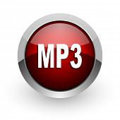mp3 red circle web glossy icon
