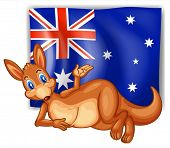 foto of oz  - Illustration of a kangaroo in front of the Australian flag on a white background - JPG