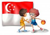 Illustration of the Singaporean flag and the basketball players on a white background