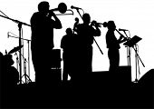 foto of banjo  - Vector drawing jazz musicians on the stage - JPG