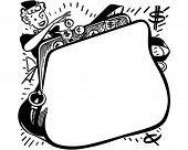 Shopper With Change Purse Ad Frame - Retro Clip Art Illustration