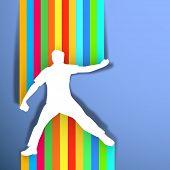 Постер, плакат: Концепция спорта с крикет Боулер бросали мяч на красочные абстрактный фон