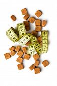 the brown sugar cubes and measuring tape