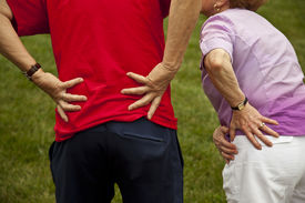 image of crippled  - Senior couple with back and hip pain - JPG