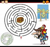 pic of pirate girl  - Cartoon Illustration of Education Maze or Labyrinth Game for Preschool Children with Funny Pirate with Parrot and Treasure - JPG