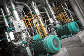 stock photo of thermal  - equipments pipes in a modern thermal power station - JPG