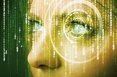 stock photo of mathematics  - Modern cyber woman with matrix eye concept - JPG