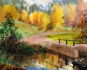 stock photo of expressionism  - Autumn landscape in the country painted by watercolor - JPG