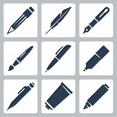 picture of tubes  - Vector writing and painting tools icons set - JPG